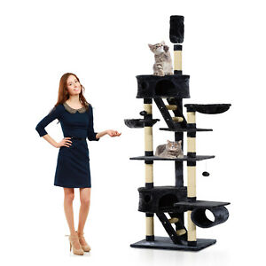 94-034-102-034-Huge-Cat-Tree-Ceiling-High-Cat-Tower-Multilevel-Playhouse-Dark-Grey