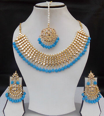 Ethnic Indian Choker Gold Plated Kundan Jewelry Necklace Earrings
