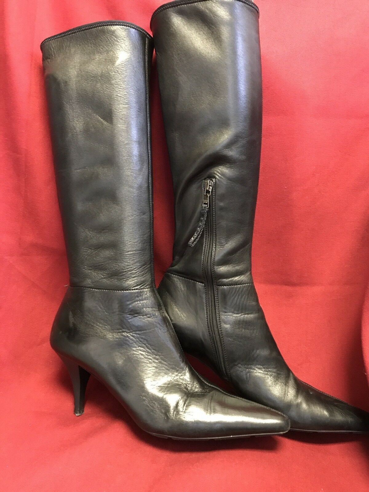 Prada Boots Knee High High High Kitten Heel Leather Black Size 38 1 2 US 8 9d8988