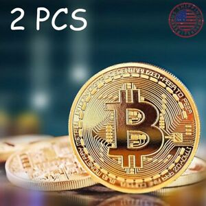2-x-Bitcoin-Commemorative-Coin-Plated-Collected-Coin-Round-Gold-Gift-US-Shipping