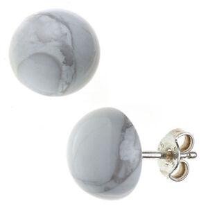 Ohrstecker-aus-Howlith-Halbkugel-10mm-925-Silber-weiss-grau-rund-Ohrschmuck-Damen