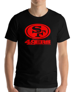 SAN-FRANCISCO-49ERS-BLACK-T-Shirt-RED-Graphic-Cotton-Adult-Logo-S-2XL