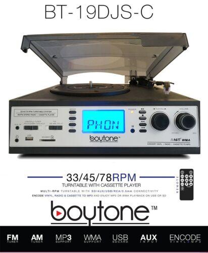 BOYTONE BT-19DJS-C Record Player Turntable AM FM Radio Cassette SD USB Silver