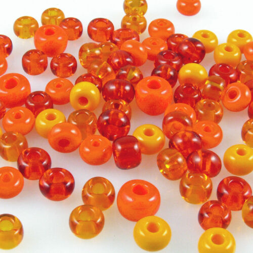 727 90 grandes Rocailles abalorios 5-7mm perlas Mix Orange bastelperlen beads