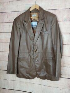 VINTAGE-DOMINIQUE-Mens-42-L-Brown-Leather-2-Button-Blazer