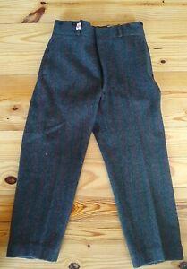 Vintage Woolrich Malone Jagd Hose Wolle Heavy 1990 Herren 34 grau rot Streifen