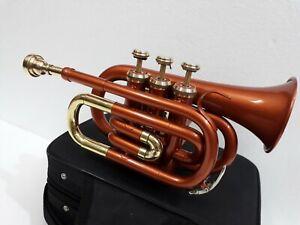 BRAND-NEW-Copper-BRASS-Colour-FLAT-3V-POCKET-TRUMPET-FREE-CASE-MOUTHPIECE