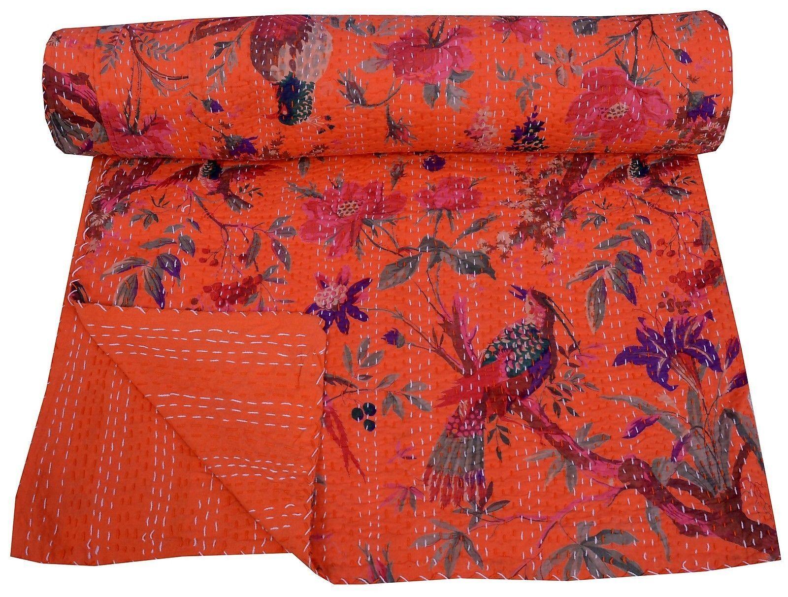 Sari Indian Kantha Bedspread Rallies Blanket Queen Size Bird Print Kantha Quilt