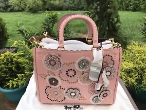 acd2b227cc NWT Authentic Coach-Rouge-with-snake skin-tea-rose-rivets-Peony ...