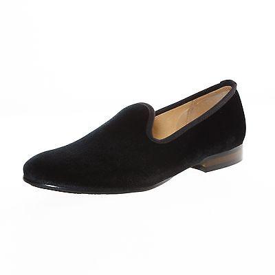 Men Black Plain Slip-On Velvet Loafers Dress Shoes Smoking Slippers Men's Flats