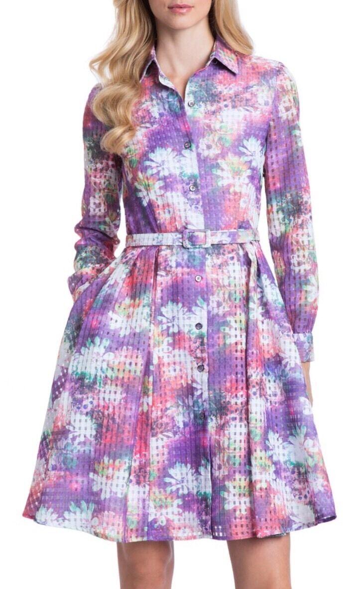NWT  Belle Badgley Mischka Long Sleeve Floral Maeve Shirt Dress Größe 8