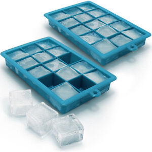 2x-Bac-a-Glacons-en-Silicone-Alimentaire-15-Ice-Cubes-Pouding-Gelee-Chocolat