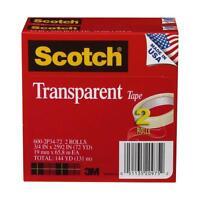 Scotch Transparent Tape, 3/4 X 2592 Inches, 3 Inch Core, 2 Rolls (600-2p34-72),