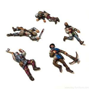 5x SOLDATS MORTS cadavres 28mm 32mm figurine miniature rpg wargame tabletop D&D