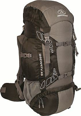 Highlander Travel Rucksack Hiking Backpack Back Pack 45 65 85 Litre Cover Black