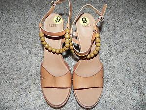 UGG-NAIMA-Sandals-TAN-WOOD-PLATFORM-BEADS-SIZE-9-WOMENS-LEATHER-UPPER-NWOB