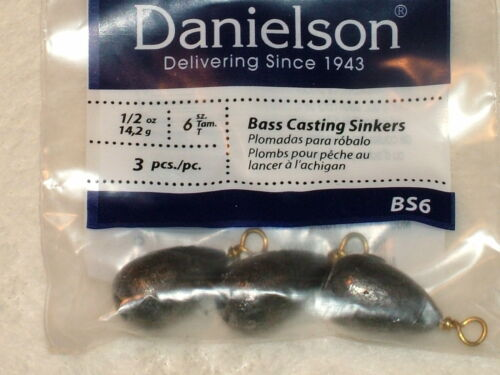 18 Bass Casting Sinkers 1//2 Oz Large Lot of Danielson Casting Sinkers