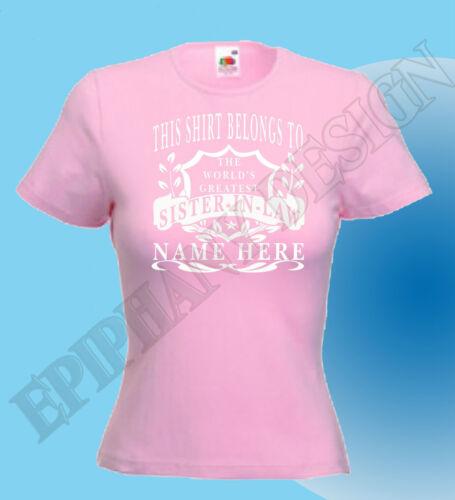Sister in law T-shirt Personnalisé ajouter votre nom personnalisé excellente idée de cadeau