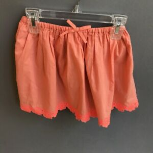 J-CREW-CREWCUTS-Girl-039-s-Cotton-Skirt-Coral-Orange-Lace-Trim-Size-6-7-EUC-Pretty