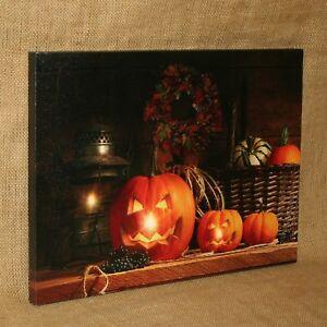 Lighted Canvas Jack o Lanterns Pumpkins Halloween Fall Autumn
