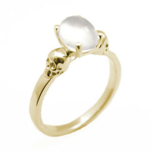 Details About Skull Ring 9ct Gold 14ct Moonstone Hand Made Engagement Ring