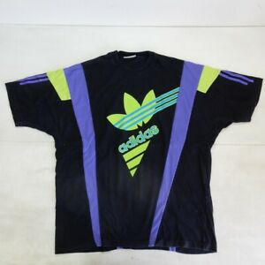 Adidas Black Flower Vintage Shirt Polo Maglia Jersey 80's