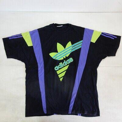 Adidas Black Flower Vintage Shirt Polo Maglia Jersey 80's Pulizia Della Cavità Orale.