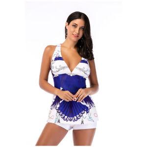 Details about White Print Womens Swim Dress Plus Size Swimwear Women  Swimsuit With Shorts