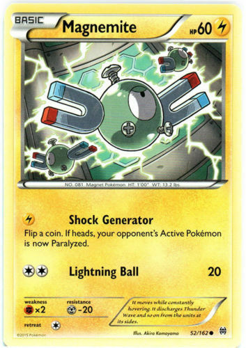 Pokemon XY Breakthrough Basic Magnemite 52//162 NM Common Electric
