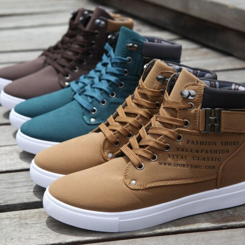 Men's Martin Boots Lace up Loafers High Top Sneaker Casual Canvas Board Shoes