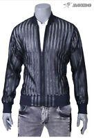 Mondo Men Fashion Black See Through Jacket With Faux Leather Stripes Sport Style