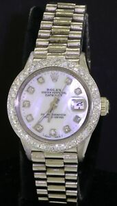 Rolex-Datejust-6517-rare-18K-WG-diamond-MOP-dial-amp-bezel-automatic-ladies-watch