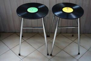 Tabouret de bar vintage assise vinyle-33 tours laqué