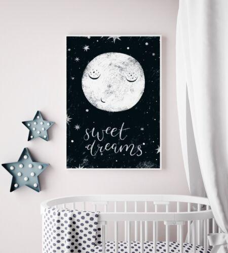 Bedroom Picture Print Sweet Dreams Nursery Art With Moon Playroom