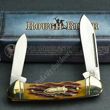 ROUGH RIDER 440 Stainless Amber Jigged Bone Mini Canoe Pocket Knife RR058 New!