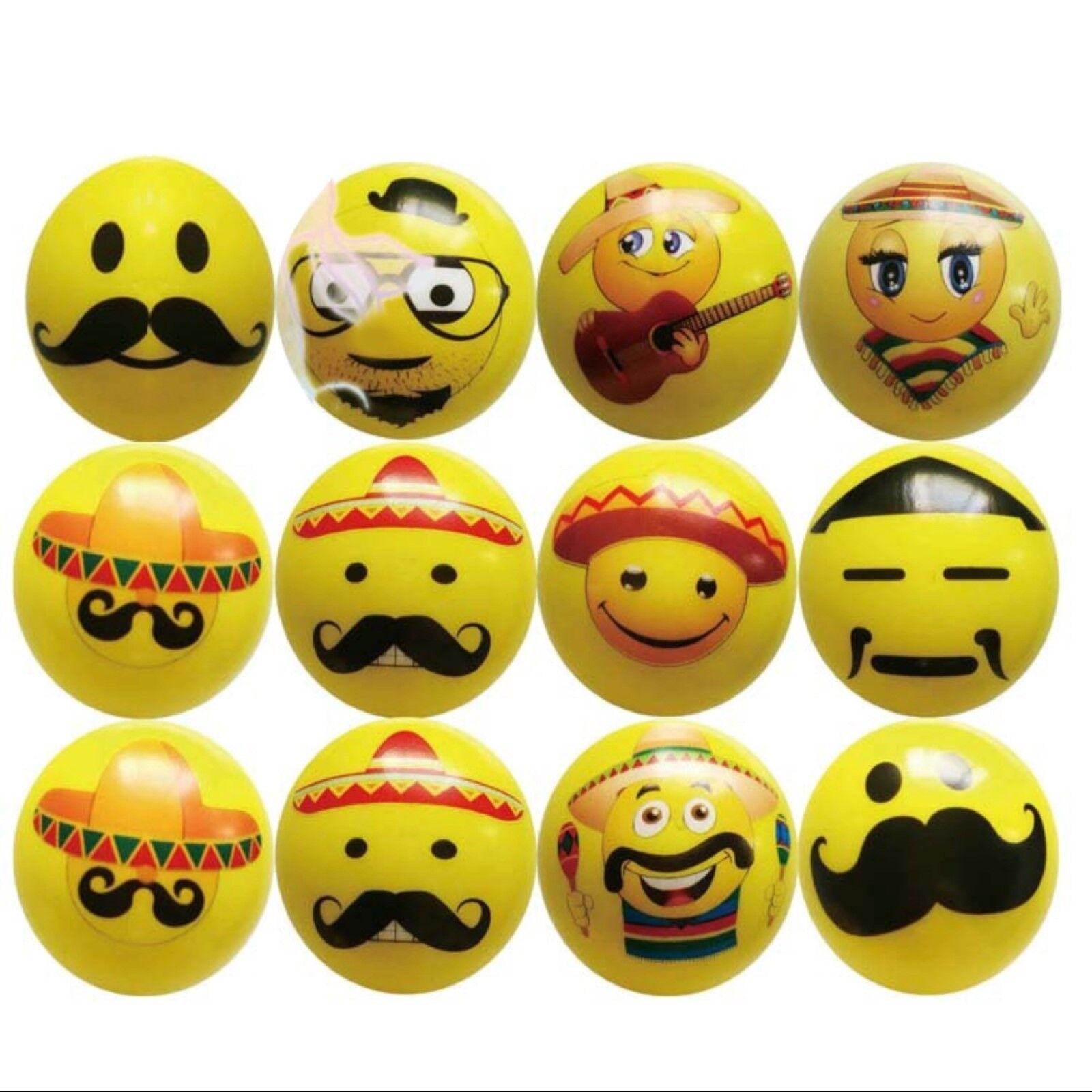 Pack of 12 Fun Party Prizes Emoticon Key Chains Playo Light Up Emoji Keychain Balls