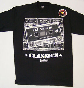 DJ-Screw-Tape-Classics-Black-Shirt-Small-4XL-Screen-Printed-Piranha-Records