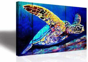 Framed Canvas Sea Turtle Wall Art Prints Bathroom Home Decor Ocean Beach Picture
