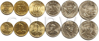 UNC ZAIRE 1976-1988 5,10,20 MAKUTA 1,5,10 ZAIRE 6 COINS SET