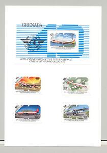Grenade-1270-1274-aviation-OACI-Nations-Unies-4-V-amp-1-V-S-S-Imperf-Proofs-sur-carte