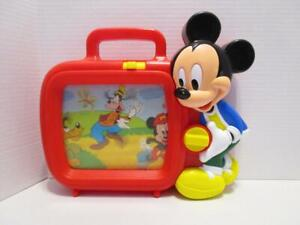 Vintage-Disney-Arco-Mickey-Mouse-Musical-Wind-Up-Musical-Scrolling-TV-Toy-WORKS
