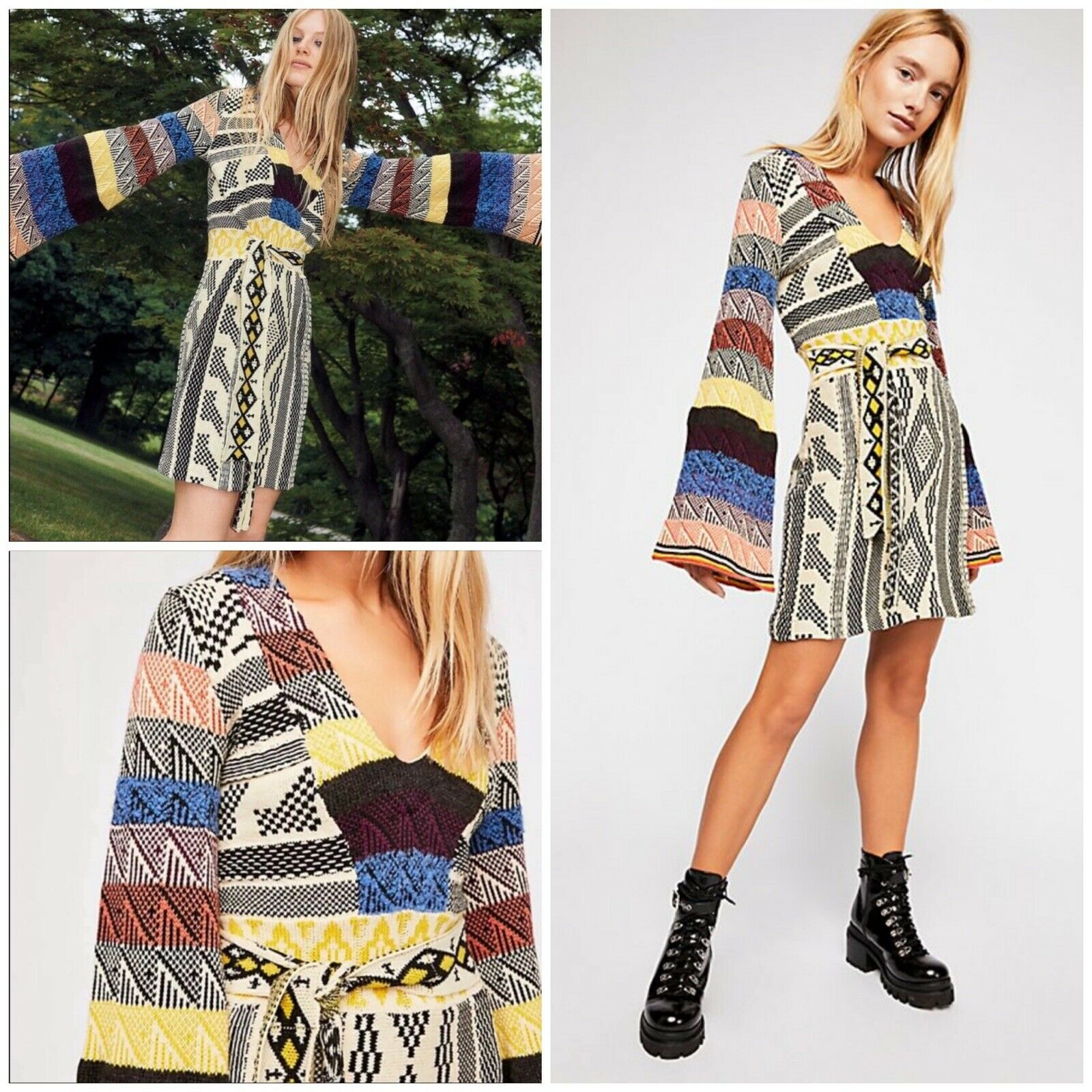 Free People Patchwork Sweater Dress Größe Medium NWT