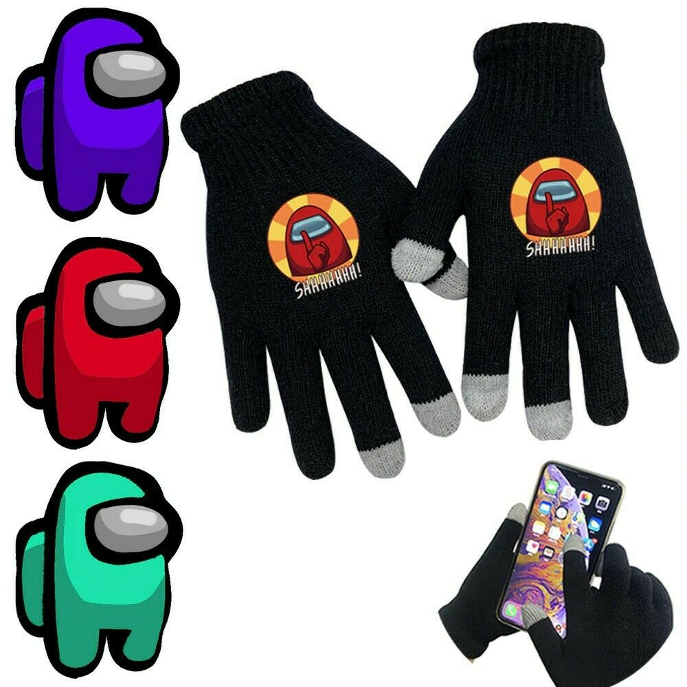 AUkaiqu12 Among Us Hat Scarf Gloves Set Kids,winter Warm Knitted Among Us Hat from the Game ,among Us Scarf ,among Us Gloves for Kids Boys Girls