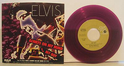 "Elvis Presley ""Always on My Mind"" RCA 45rpm w/ PS NM Cond Purple Vinyl store sto"
