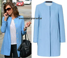 ZARA COAT LINEN JACKET BLAZER LIGHT BLUE PASTEL MEDIUM - M