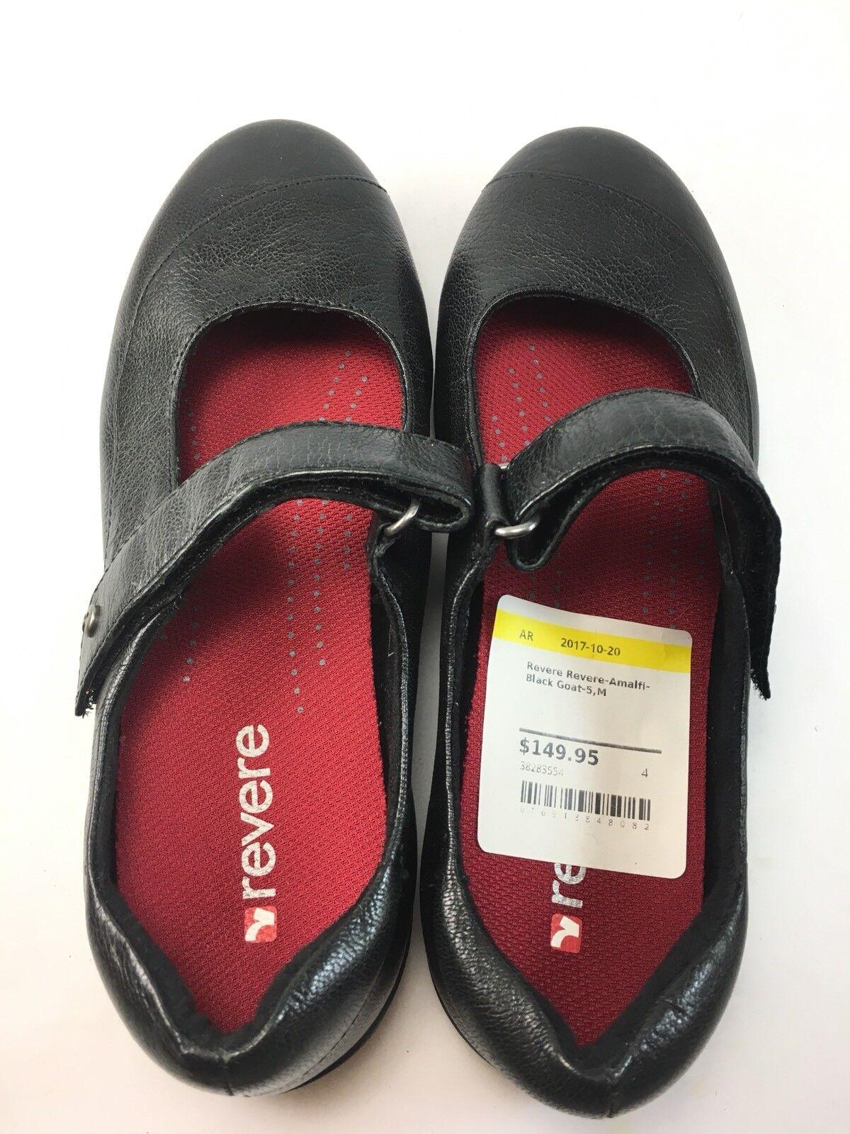 Revere Para Para Revere Mujer Zapatos Planos De Amalfi Negro Cabra M 8180b1