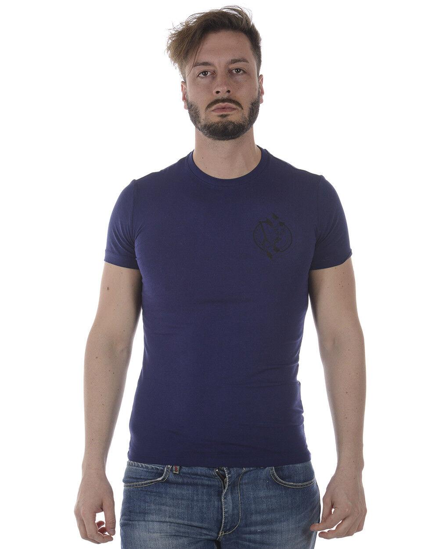 T shirt Maglietta Versace Jeans Sweatshirt Cotone  Herren Blu B3GRA77J 239