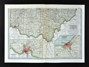 Mapa Del Siglo 1902 Sur Ohio Colon Dayton Atenas Cincinnati Plan De