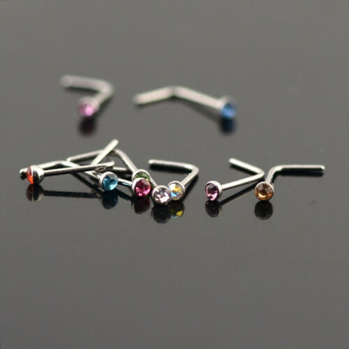 Surgical Steel Nose Ring L Shaped Stud with 2mm Rhinestone USA Seller