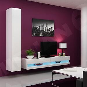 Das Bild Wird Geladen Wohnzimmer Set Moebel Wohnwand Rack New 09 Hochglanz